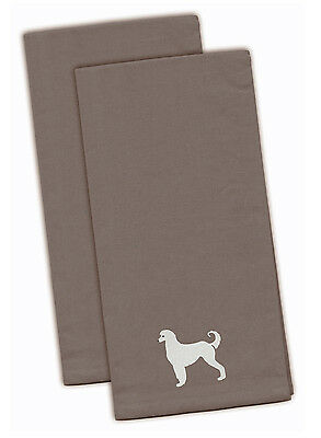 Afghan Hound Gray Embroidered Kitchen Towel Set of 2