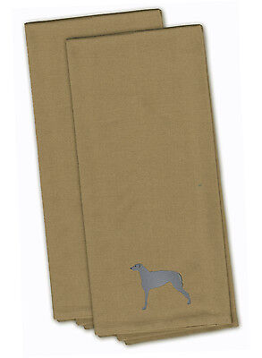 Scottish Deerhound Tan Embroidered Kitchen Towel Set of 2