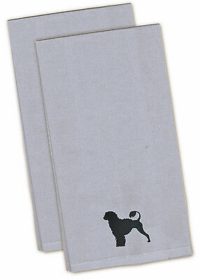 Portuguese Water Dog Blue Embroidered Kitchen Towel Set of 2