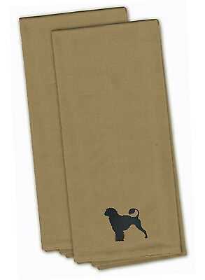 Portuguese Water Dog Tan Embroidered Kitchen Towel Set of 2