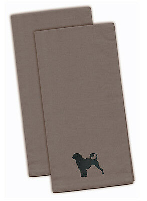 Portuguese Water Dog Gray Embroidered Kitchen Towel Set of 2