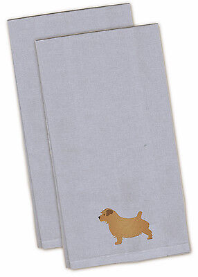 Norfolk Terrier Blue Embroidered Kitchen Towel Set of 2