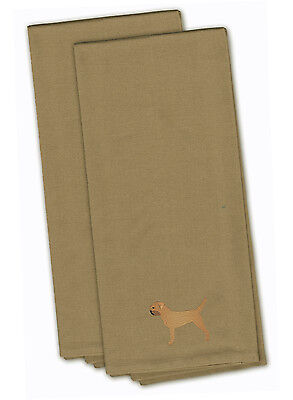 Border Terrier Tan Embroidered Kitchen Towel Set of 2