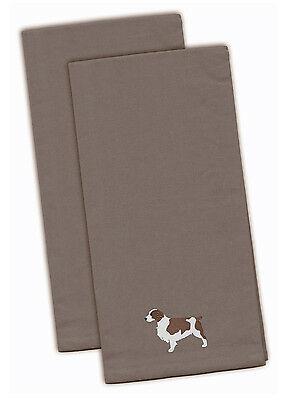 Welsh Springer Spaniel Gray Embroidered Kitchen Towel Set of 2