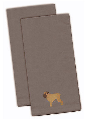 Brussels Griffon Gray Embroidered Kitchen Towel Set of 2