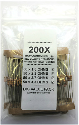 VALUE TRADE PACK of 200 AIRBAG / SRS TESTING RESISTORS OHMS 1.8 2.2 2.7 & 3.3