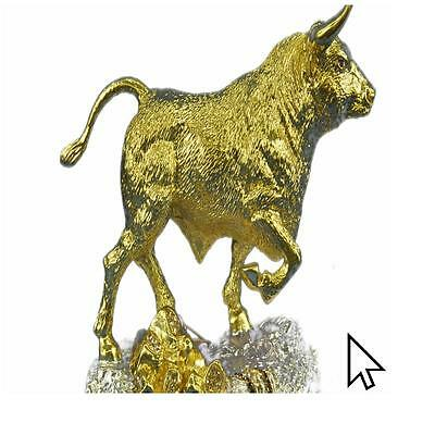 Bronze Sculpture Handcrafted Detailed 24K Gold Stock Market Bull Home Office Cab
