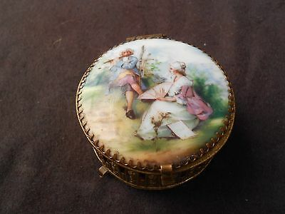 Antique Hand Painted Porcelain Medallion Gilded Brass Trinket Box Czechoslovakia