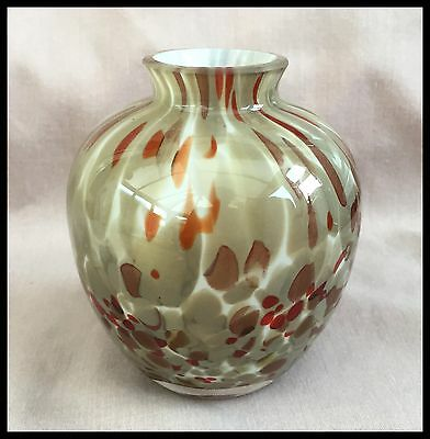 Beautiful Splatter Glass End Of Day Brown, Cream And Orange And Red Vase