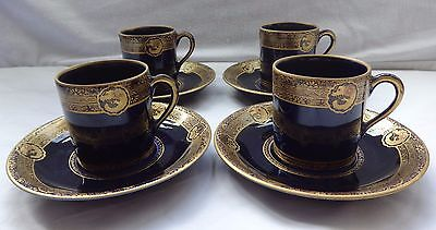 Japanese Kyo Satsuma cups & saucers, coffee cans by Kinkozan, cobalt blue / gold