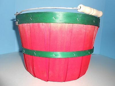 Red Apple Basket with Green Trim