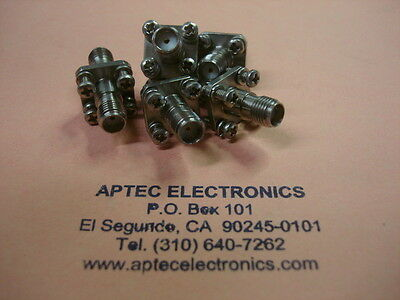 5 ea. sma bulkhead connectors 4-hole w/mounting screws made in & ships from USA