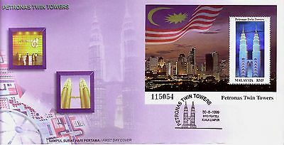 MALAYSIA 1999 Petronas Twin Towers Building Hologram Stamp FDC