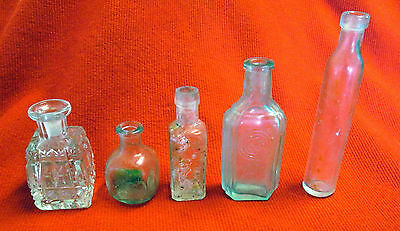 Lot of 5 Glass Bottles Masons O.K. Sauce Glyco Thymoline C and Co. Perfume gdc6