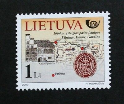 Postal history stamp, 2003, Post Office, map & seal, Lithuania, SG ref: 818, MNH