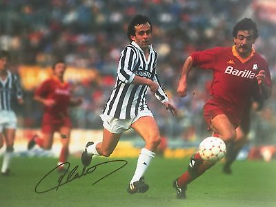 Michel Platini Juventus Original Hand Signed Photo 12x8 With COA
