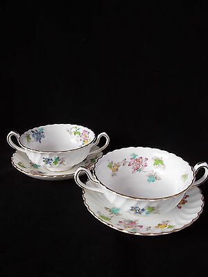 Rare Pair Of Minton Vermont Soup Bowls And Saucers 1945
