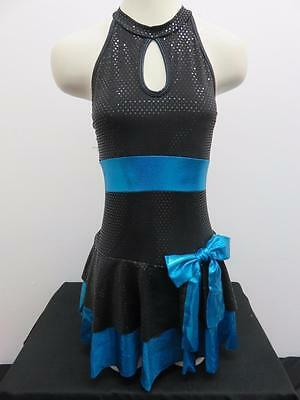 Dance Costume Small Adult Blue Metallic Dress Curtain Call Jazz Solo Competition