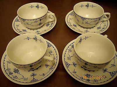 4 Furnivals Denmark Cups and Saucers