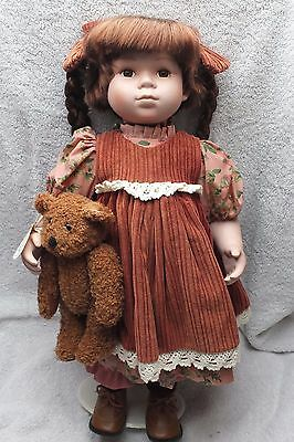Leonardo Boxed Collectors Porcelain Doll - Brown Corduroy 19 Inches Tall