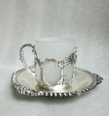 Vintage Silverplate E.P. ANTIMONY Russian Tea Glass Style Demitasse Cup Saucer!