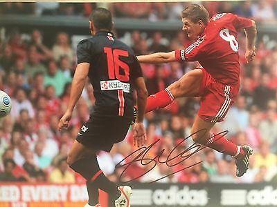 Steven Gerrard Liverpool Original Hand Signed Photo 12x8 With COA