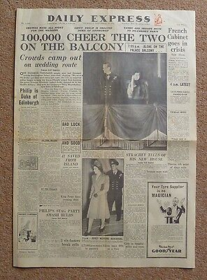 Daily Express newspaper cover only Nov 20 1947 Queen and Prince Philip marriage