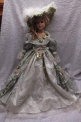 Leonardo Boxed Collectors Porcelain Doll - Green Lace 22 Inches Tall