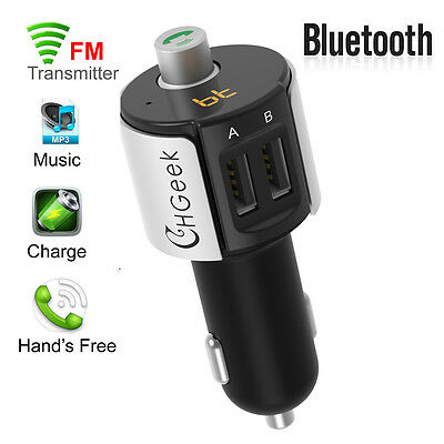 LCD Car Kit Handsfree Bluetooth Wireless FM Transmitter MP3 Player USB Charger