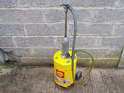 Vintage shell two stroke oil pump/can