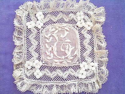 Vintage Antique Lace and Embroidered Mono Doilie  E