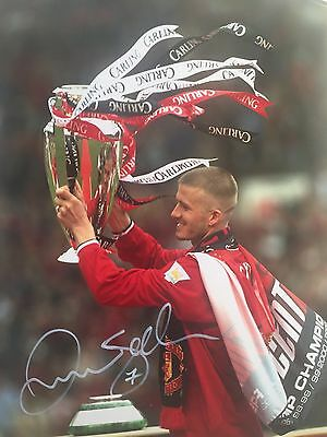 David Beckham Manchester United Original Hand Signed Photo 12x8 With COA