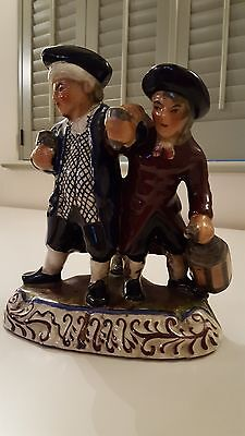 Staffordshire figure. The Drunk Parson and Nightwatchman