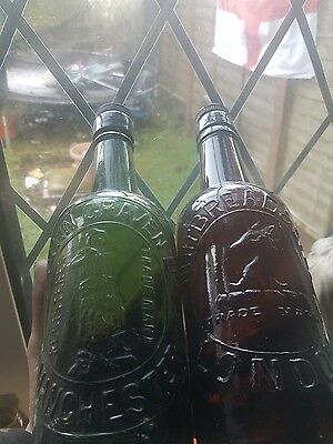 2 pictorial old bottles rare green lifeboatmam&stags head