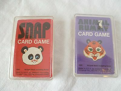 Vintage Whitman Snap & Animal Rummy Card Game Never Opened Mint! Plastic Case