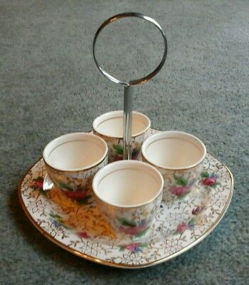 Vintage Stylecraft By Midwinter Chinz 4 Egg Cups & Stand Flowers Gilding