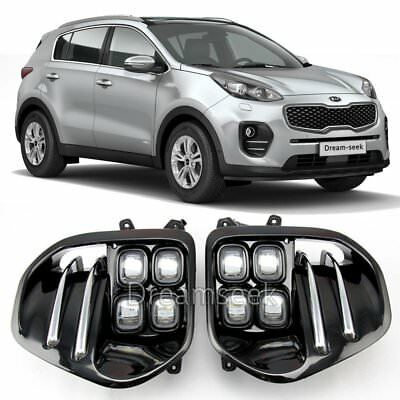 New Pair Led Fog Light For Kia Sportage Ql Iv 2016 2017 With Front Lamp Bezel