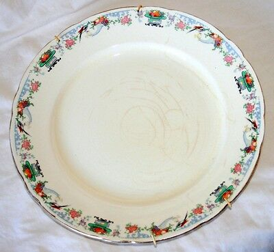 Royal Cauldon Art Deco Dinner Plate, Oriental Birds/Cornucopia,Fruit/Flowers etc