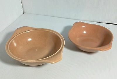 2 RUSSEL WRIGHT Custom Pottery Large Soup Bowls w Handles Steubenville CORAL