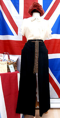 1940`s WW11 wartime vintage land girl style wide leg turn up trousers size 12 R