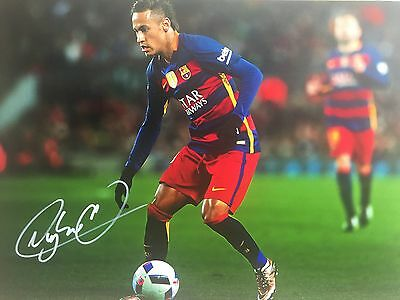 Neymar Barcelona Original Hand Signed Photo 12x8 With COA