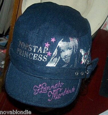 Hannah Montana Miley Cyrus Blue Denim Buckled Ball Cadet Cap Popstar Princess
