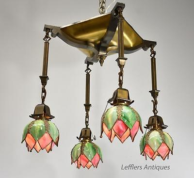 Arts & Crafts Flush Mount Brass Chandelier w  Handel Style Double Tulip Shades