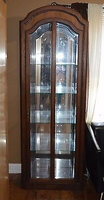 PULASKI Oak China Cabinet Closet Display Curio Beveled Glass Lighted