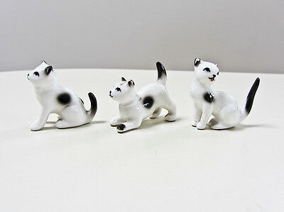 Set of 3 Vintage Bone China Cats / Kittens Miniature Figurines by Delta, Japan