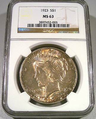NGC 1923 MS63 $1 Peace Dollar Nice Color and Luster!