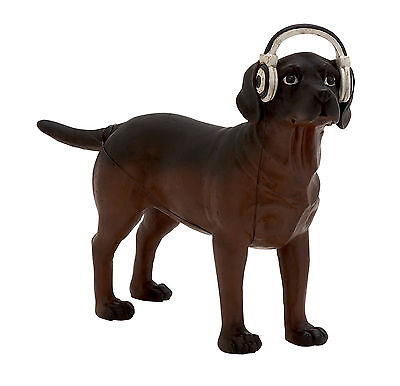 Classic And Contemporary Style Polystone Dog Headphones Home Decor 44749