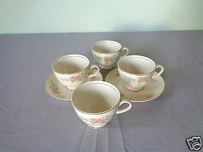 Vtg Homer Laughlin Ferndale Eggshell Nautilus Floral Spray 4 Cups & 2 Saucers #2