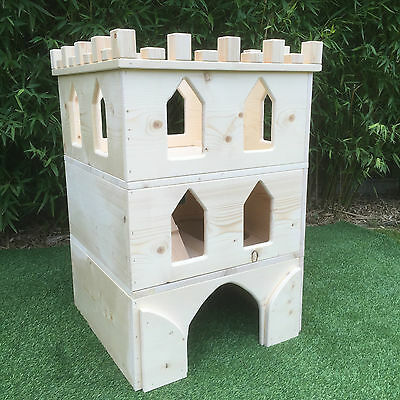 Rabbit small animal wooden Penthouse/castle/hide/house (cardboard castle)