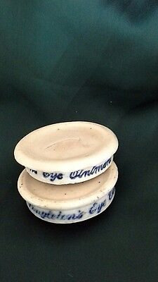 ceramic ointment pot lids victorian, singletons eye ointment,apothecary,optician